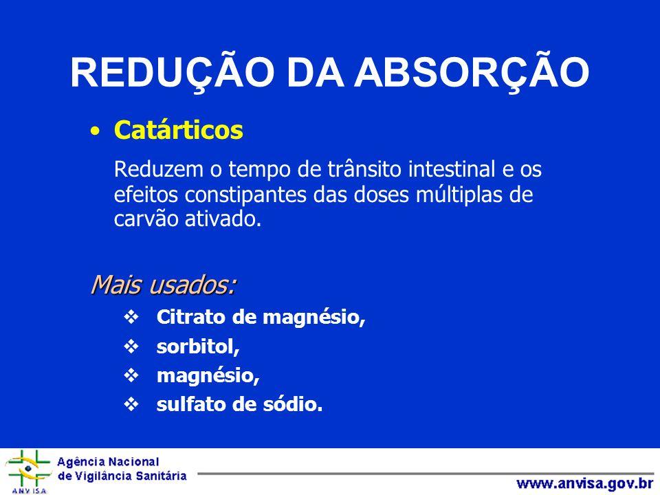 REDUÇÃO DA ABSORÇÃO Catárticos Reduzem o tempo de trânsito intestinal e os efeitos constipantes das doses múltiplas de carvão ativado. Mais usados: Ci