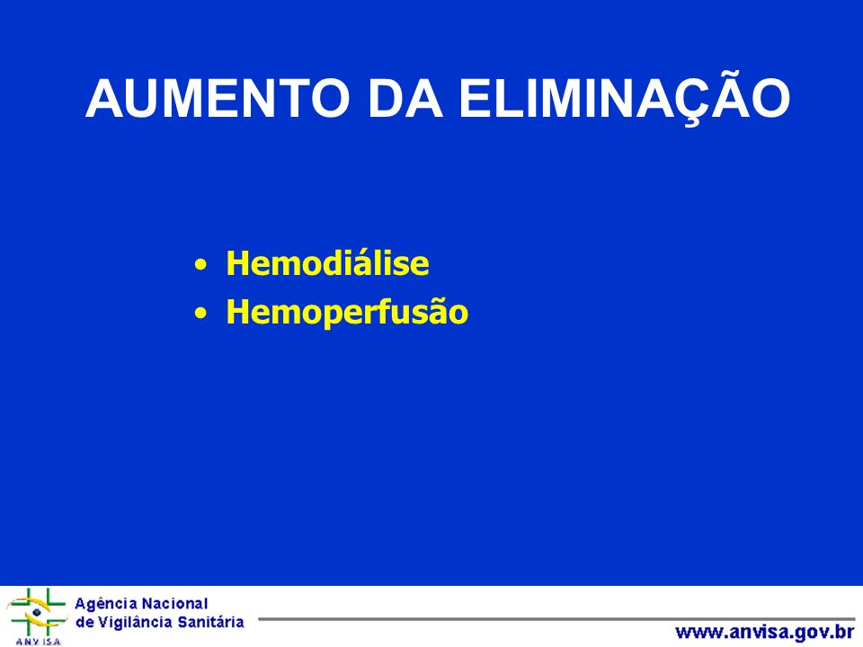 AUMENTO DA ELIMINAÇÃO Hemodiálise Hemoperfusão