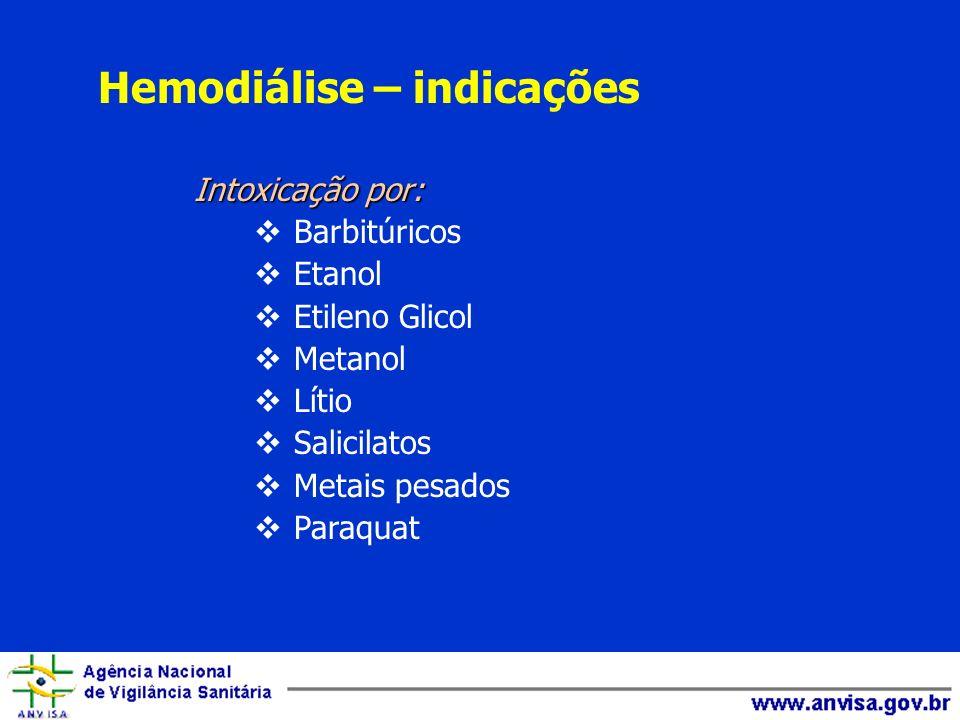 Intoxicação por: Barbitúricos Etanol Etileno Glicol Metanol Lítio Salicilatos Metais pesados Paraquat Hemodiálise – indicações