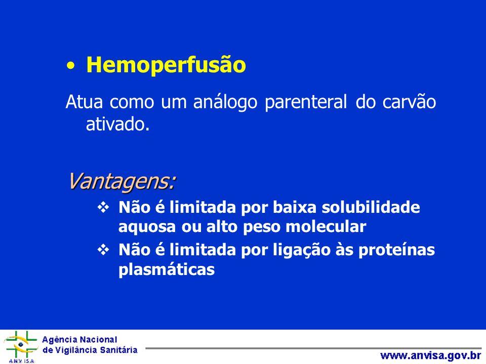 Hemoperfusão Atua como um análogo parenteral do carvão ativado.Vantagens: Não é limitada por baixa solubilidade aquosa ou alto peso molecular Não é li