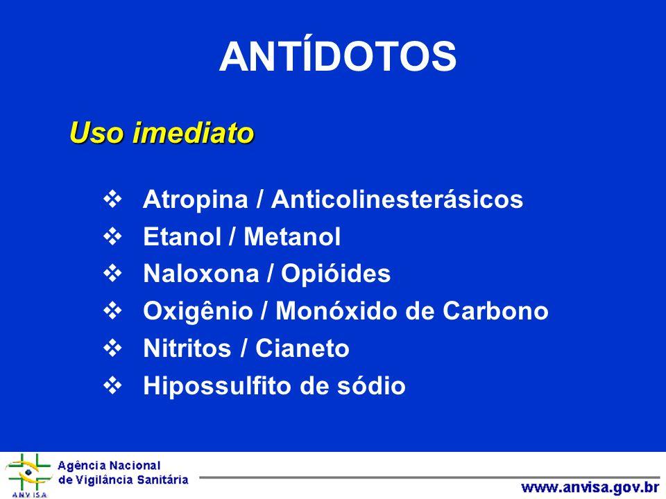 ANTÍDOTOS Uso imediato Atropina / Anticolinesterásicos Etanol / Metanol Naloxona / Opióides Oxigênio / Monóxido de Carbono Nitritos / Cianeto Hipossul