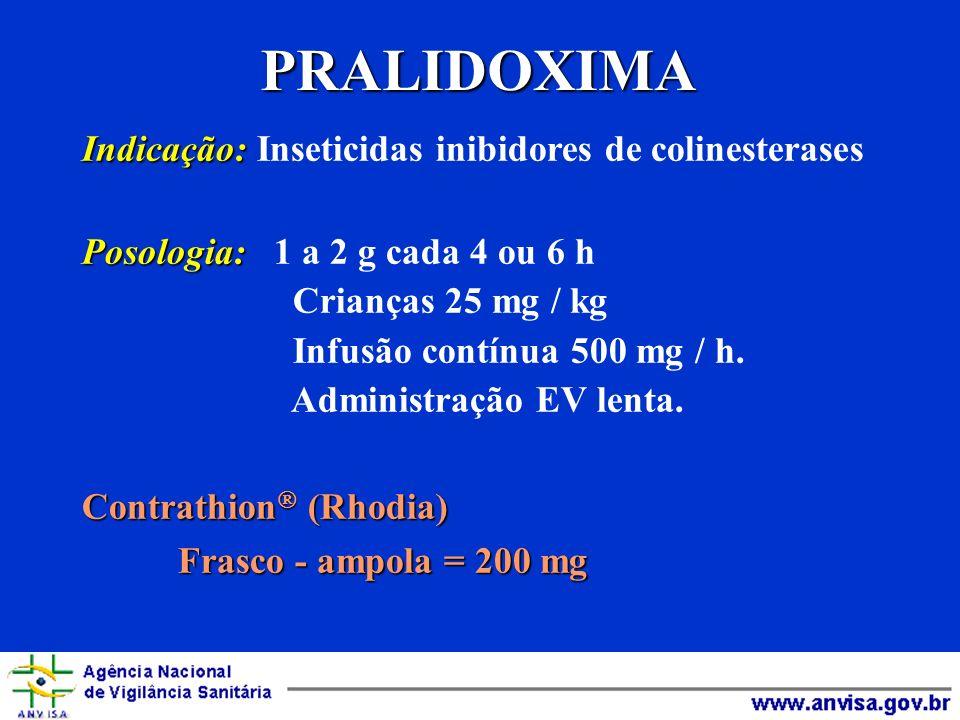 PRALIDOXIMA Indicação: Indicação: Inseticidas inibidores de colinesterases Posologia: Posologia: 1 a 2 g cada 4 ou 6 h Crianças 25 mg / kg Infusão con