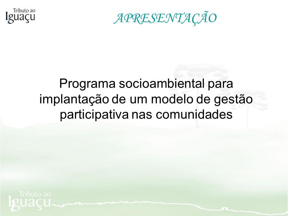 APRESENTAÇÃO Programa socioambiental para implantação de um modelo de gestão participativa nas comunidades