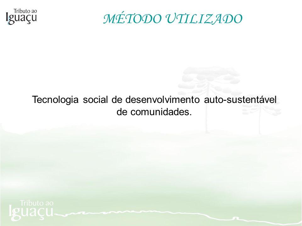 MÉTODO UTILIZADO Tecnologia social de desenvolvimento auto-sustentável de comunidades.