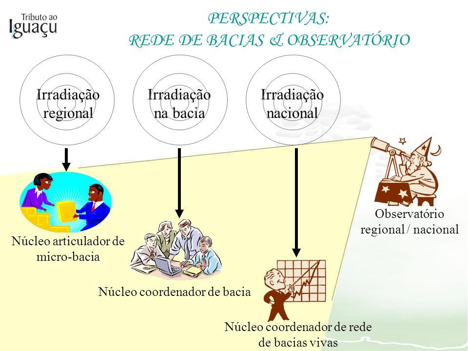 Observatório regional / nacional PERSPECTIVAS: REDE DE BACIAS & OBSERVATÓRIO Irradiação regional Irradiação na bacia Irradiação nacional Núcleo articu