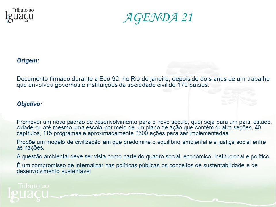 AGENDA 21Origem: Documento firmado durante a Eco-92, no Rio de janeiro, depois de dois anos de um trabalho que envolveu governos e instituições da soc