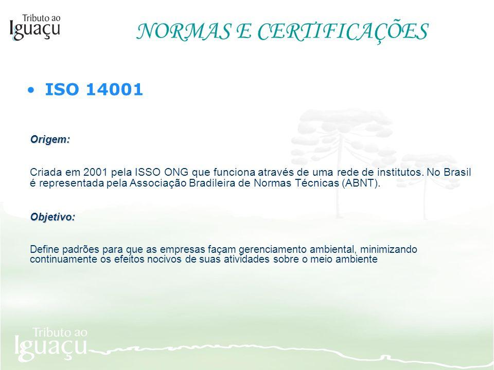NORMAS E CERTIFICAÇÕES ISO 14001 Origem: Criada em 2001 pela ISSO ONG que funciona através de uma rede de institutos. No Brasil é representada pela As