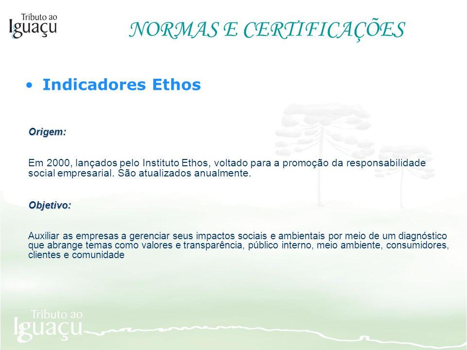 NORMAS E CERTIFICAÇÕES Indicadores Ethos Origem: Em 2000, lançados pelo Instituto Ethos, voltado para a promoção da responsabilidade social empresaria
