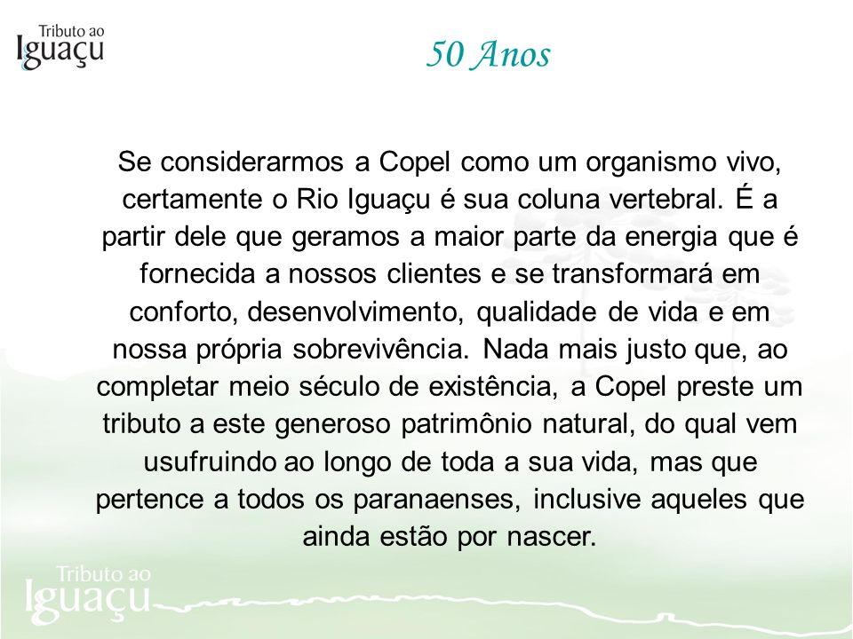 Se considerarmos a Copel como um organismo vivo, certamente o Rio Iguaçu é sua coluna vertebral. É a partir dele que geramos a maior parte da energia