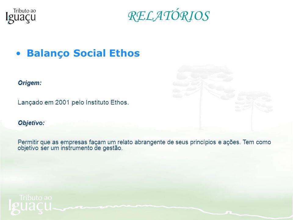 RELATÓRIOS Balanço Social Ethos Origem: Lançado em 2001 pelo Instituto Ethos. Objetivo: Permitir que as empresas façam um relato abrangente de seus pr