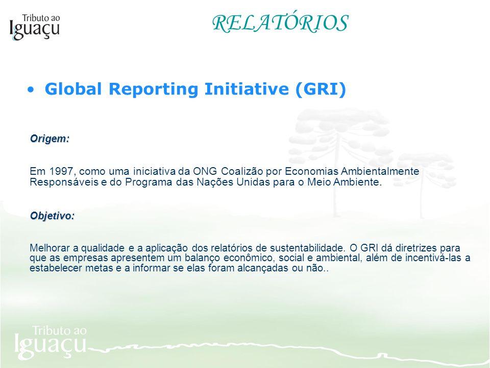 RELATÓRIOS Global Reporting Initiative (GRI) Origem: Em 1997, como uma iniciativa da ONG Coalizão por Economias Ambientalmente Responsáveis e do Progr