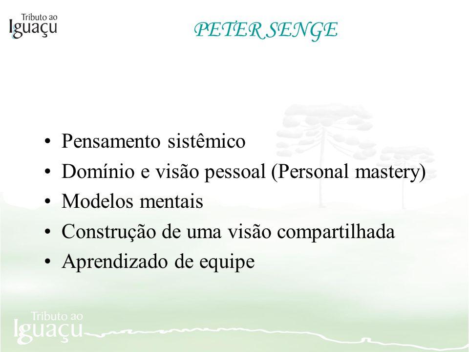PETER SENGE Pensamento sistêmico Domínio e visão pessoal (Personal mastery) Modelos mentais Construção de uma visão compartilhada Aprendizado de equip