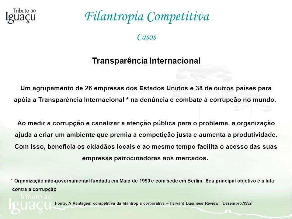 Transparência Internacional Um agrupamento de 26 empresas dos Estados Unidos e 38 de outros países para apóia a Transparência Internacional * na denún