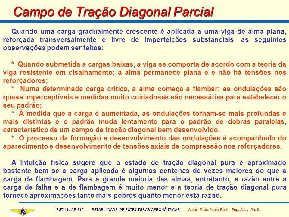 EST 41 / AE 213 - ESTABILIDADE DE ESTRUTURAS AERONÁUTICAS – Autor: Prof. Paulo Rizzi - Eng. Aer., Ph. D. Campo de Tração Diagonal Parcial Quando uma c