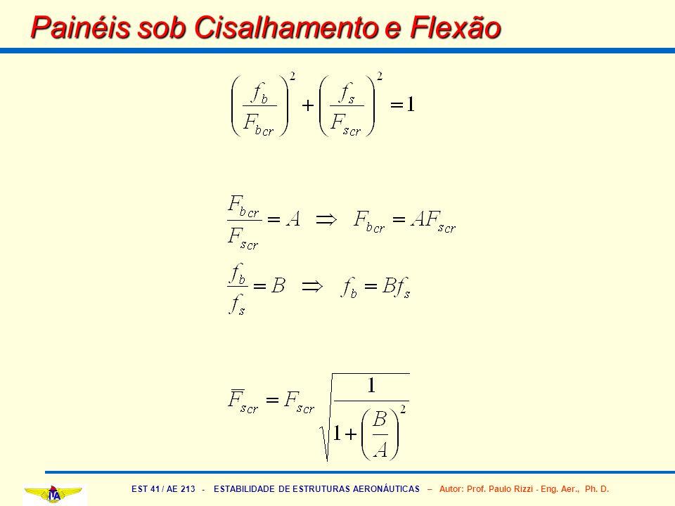 EST 41 / AE 213 - ESTABILIDADE DE ESTRUTURAS AERONÁUTICAS – Autor: Prof. Paulo Rizzi - Eng. Aer., Ph. D. Painéis sob Cisalhamento e Flexão