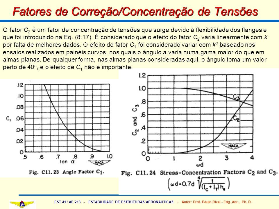 EST 41 / AE 213 - ESTABILIDADE DE ESTRUTURAS AERONÁUTICAS – Autor: Prof. Paulo Rizzi - Eng. Aer., Ph. D. Fatores de Correção/Concentração de Tensões O