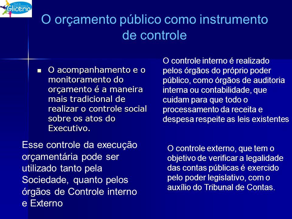 O orçamento público como instrumento de controle O acompanhamento e o monitoramento do orçamento é a maneira mais tradicional de realizar o controle s
