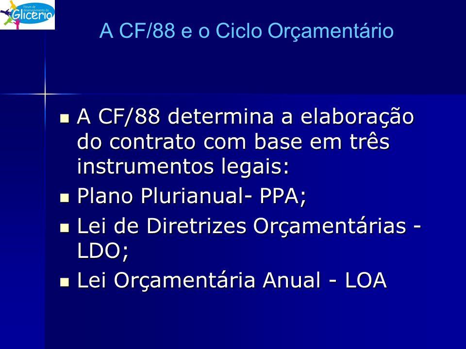 A CF/88 e o Ciclo Orçamentário A CF/88 determina a elaboração do contrato com base em três instrumentos legais: A CF/88 determina a elaboração do cont