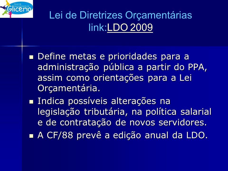 Lei de Diretrizes Orçamentárias link:LDO 2009LDO 2009 Define metas e prioridades para a administração pública a partir do PPA, assim como orientações