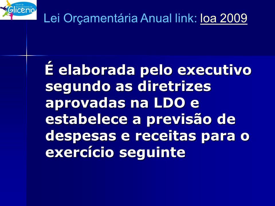 Lei Orçamentária Anual link: loa 2009loa 2009 É elaborada pelo executivo segundo as diretrizes aprovadas na LDO e estabelece a previsão de despesas e