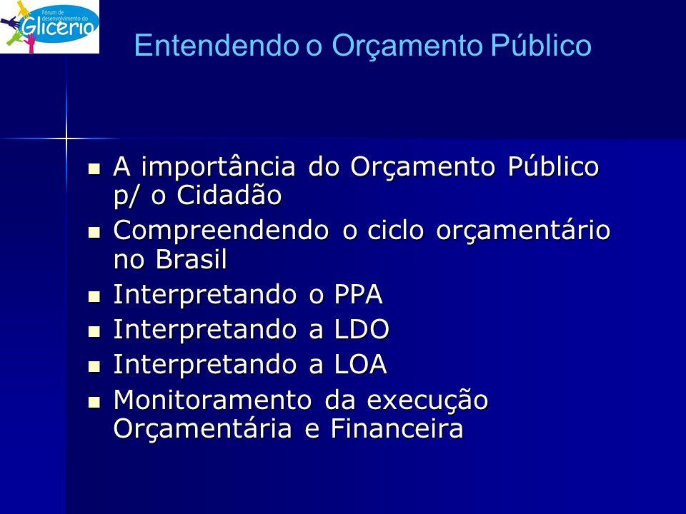 Entendendo o Orçamento Público A importância do Orçamento Público p/ o Cidadão A importância do Orçamento Público p/ o Cidadão Compreendendo o ciclo o