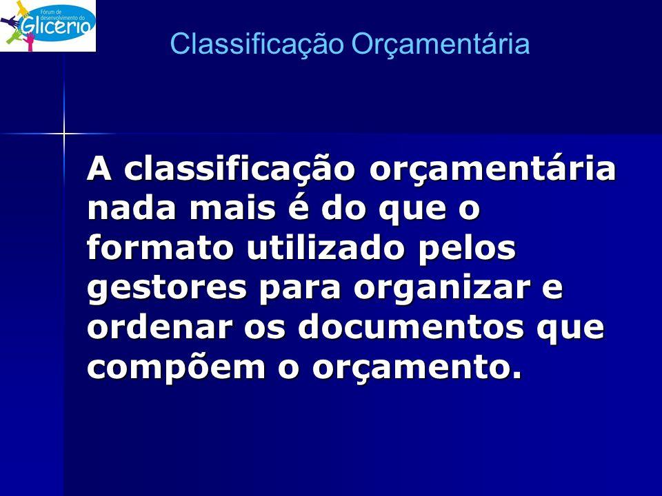 Classificação Orçamentária A classificação orçamentária nada mais é do que o formato utilizado pelos gestores para organizar e ordenar os documentos q