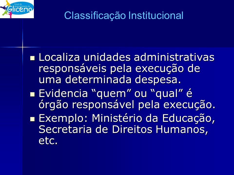Classificação Institucional Localiza unidades administrativas responsáveis pela execução de uma determinada despesa. Localiza unidades administrativas