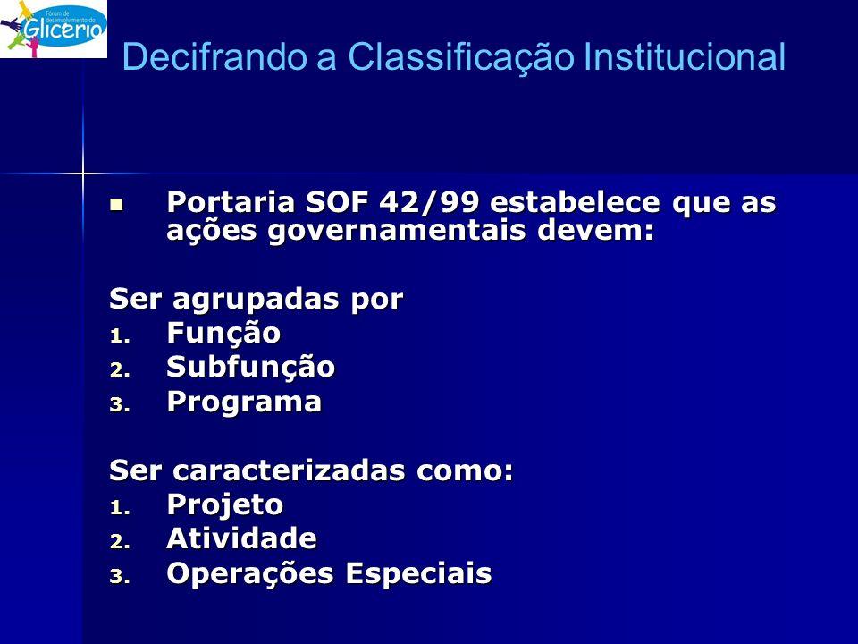 Decifrando a Classificação Institucional Portaria SOF 42/99 estabelece que as ações governamentais devem: Portaria SOF 42/99 estabelece que as ações g