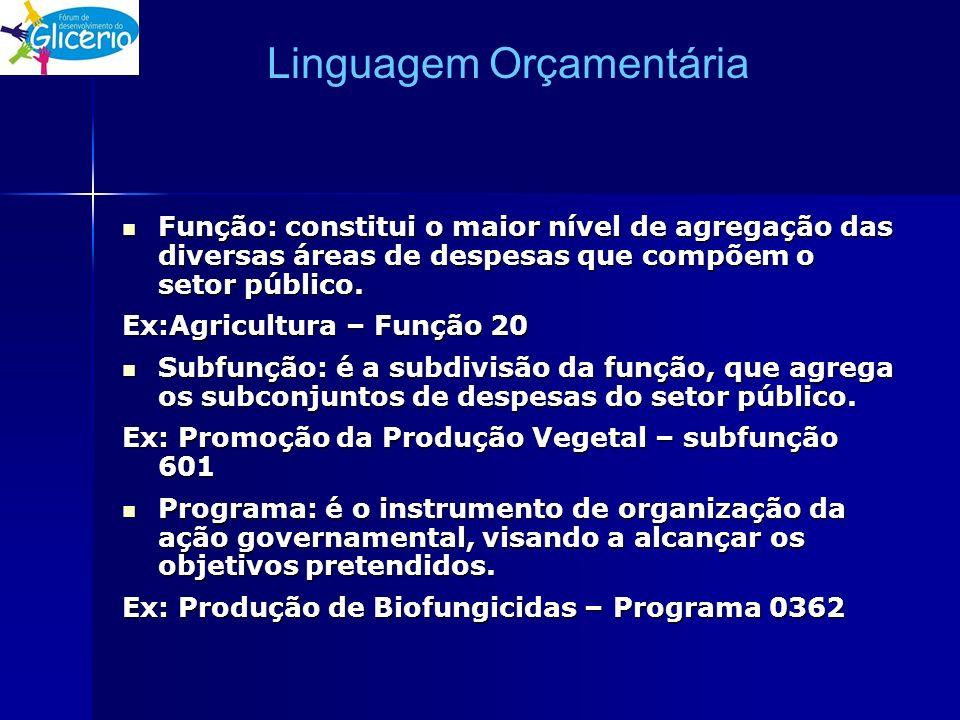 Linguagem Orçamentária Função: constitui o maior nível de agregação das diversas áreas de despesas que compõem o setor público. Função: constitui o ma