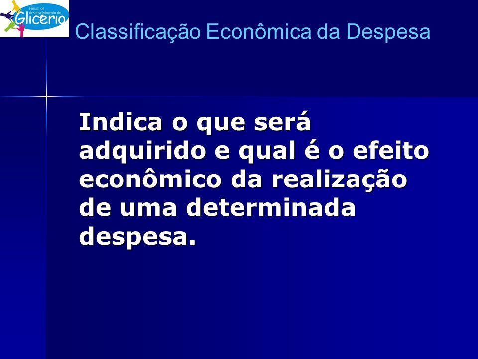 Classificação Econômica da Despesa Indica o que será adquirido e qual é o efeito econômico da realização de uma determinada despesa.