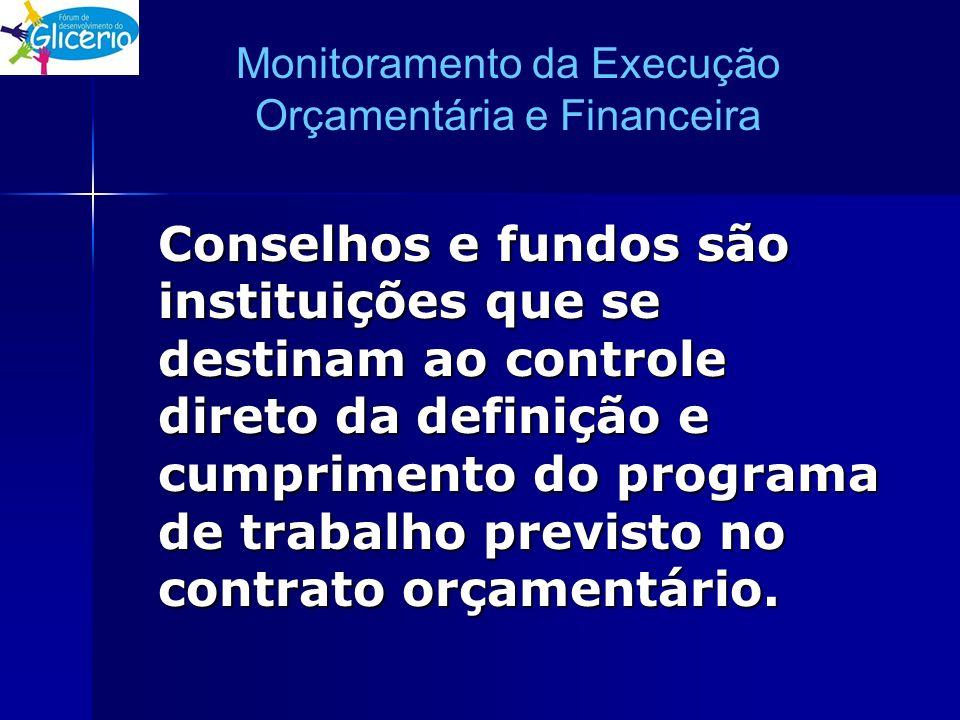 Monitoramento da Execução Orçamentária e Financeira Conselhos e fundos são instituições que se destinam ao controle direto da definição e cumprimento