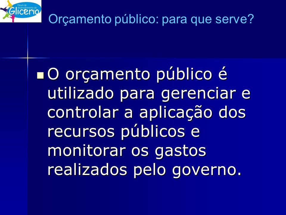 Orçamento público: para que serve? O orçamento público é utilizado para gerenciar e controlar a aplicação dos recursos públicos e monitorar os gastos