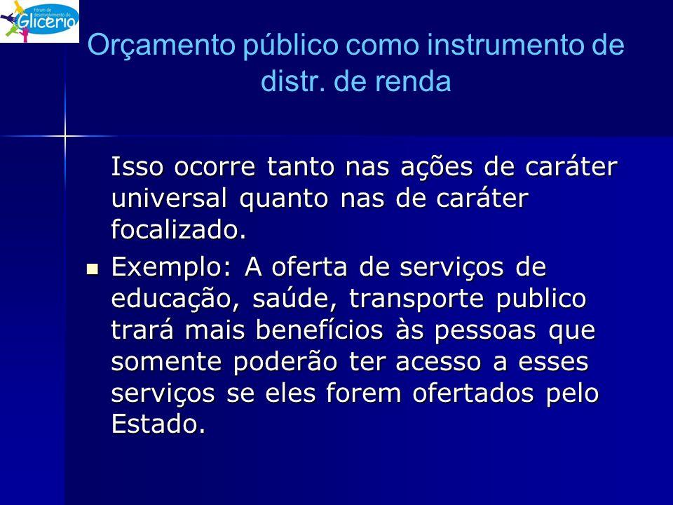Orçamento público como instrumento de distr. de renda Isso ocorre tanto nas ações de caráter universal quanto nas de caráter focalizado. Exemplo: A of