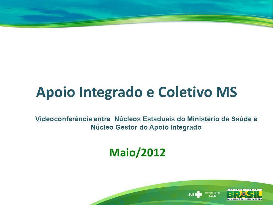 Apoio Integrado e Coletivo MS Maio/2012 Videoconferência entre Núcleos Estaduais do Ministério da Saúde e Núcleo Gestor do Apoio Integrado