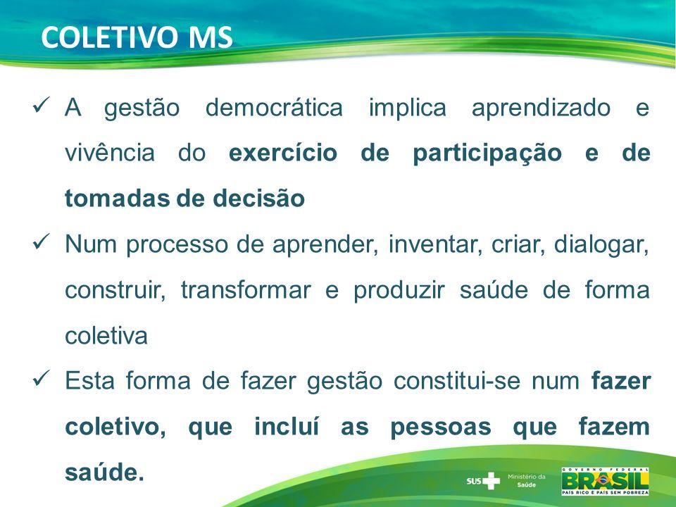 COLETIVO MS A gestão democrática implica aprendizado e vivência do exercício de participação e de tomadas de decisão Num processo de aprender, inventa