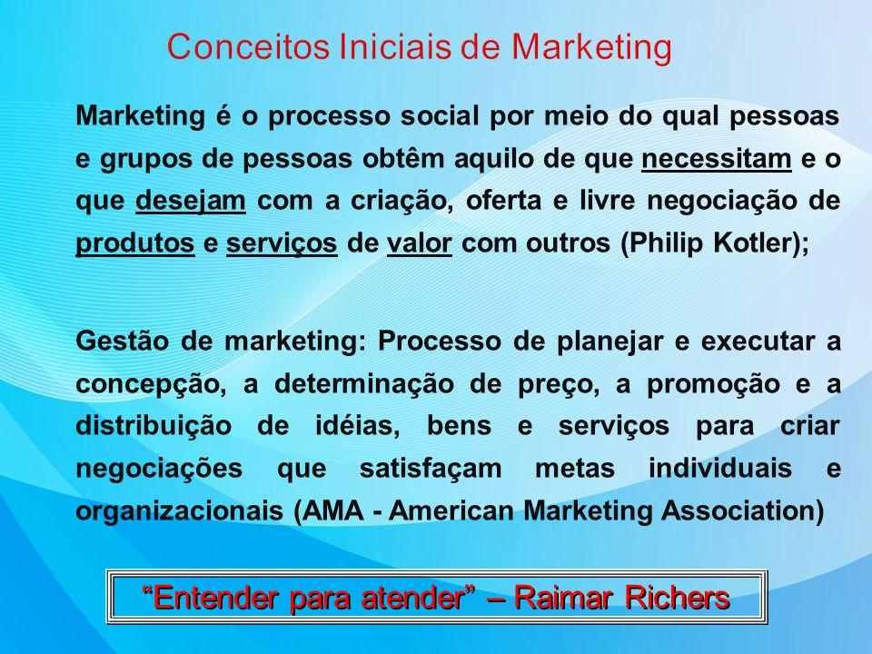 Marketing é o processo social por meio do qual pessoas e grupos de pessoas obtêm aquilo de que necessitam e o que desejam com a criação, oferta e livr