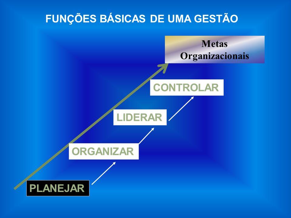 FUNÇÕES BÁSICAS DE UMA GESTÃO PLANEJAR ORGANIZARLIDERARCONTROLAR Metas Organizacionais