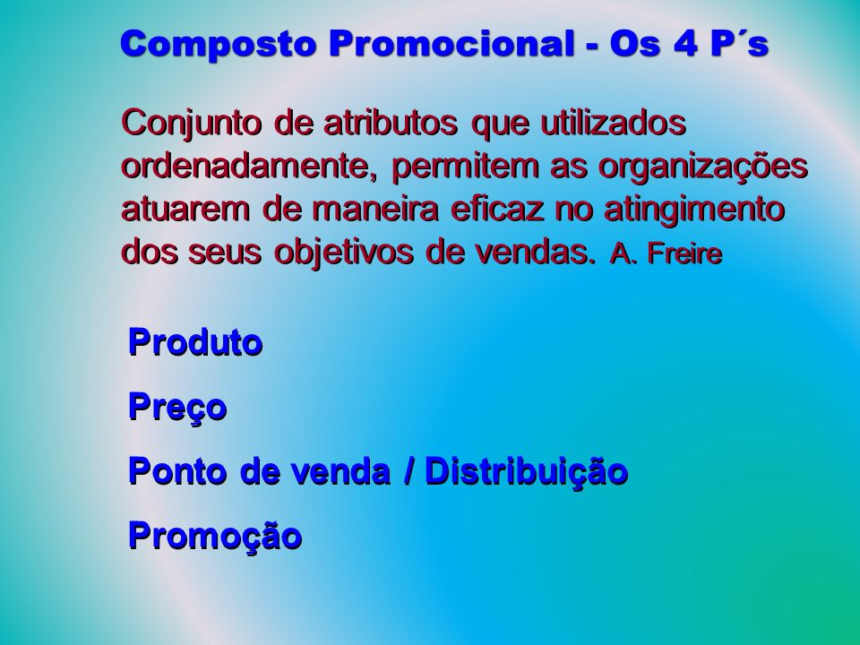 Composto Promocional - Os 4 P´s Conjunto de atributos que utilizados ordenadamente, permitem as organizações atuarem de maneira eficaz no atingimento