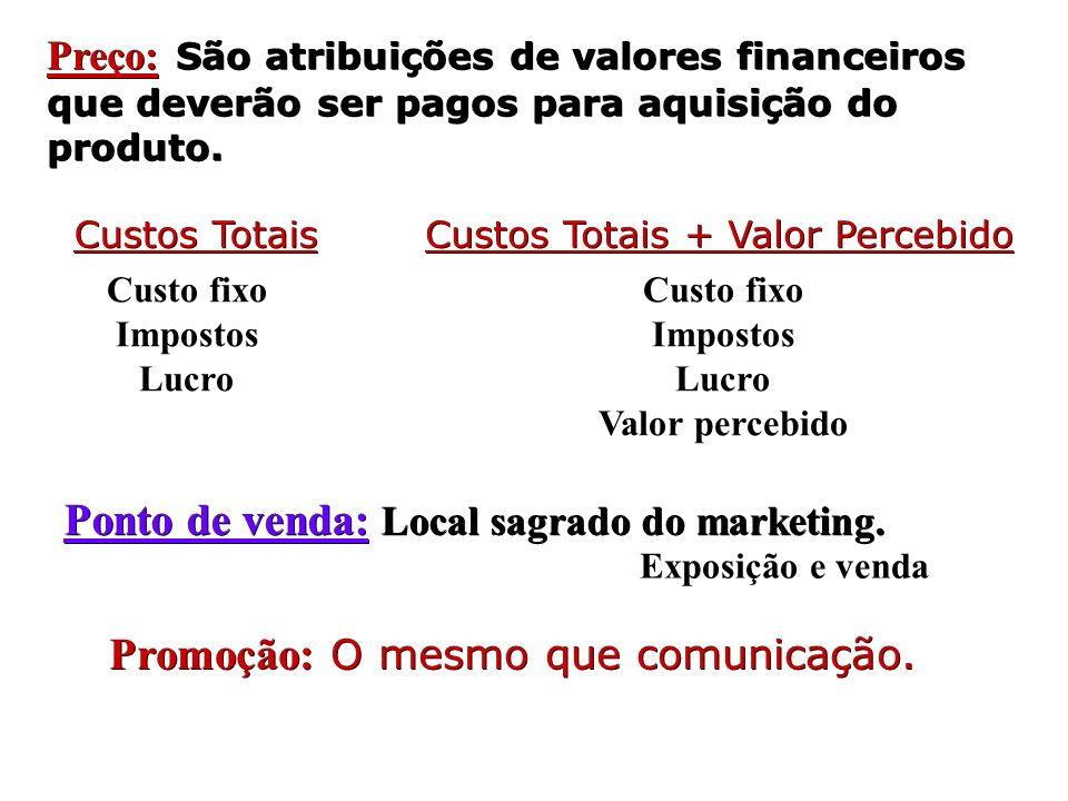 Preço: São atribuições de valores financeiros que deverão ser pagos para aquisição do produto. Custos Totais Custos Totais + Valor Percebido Custo fix