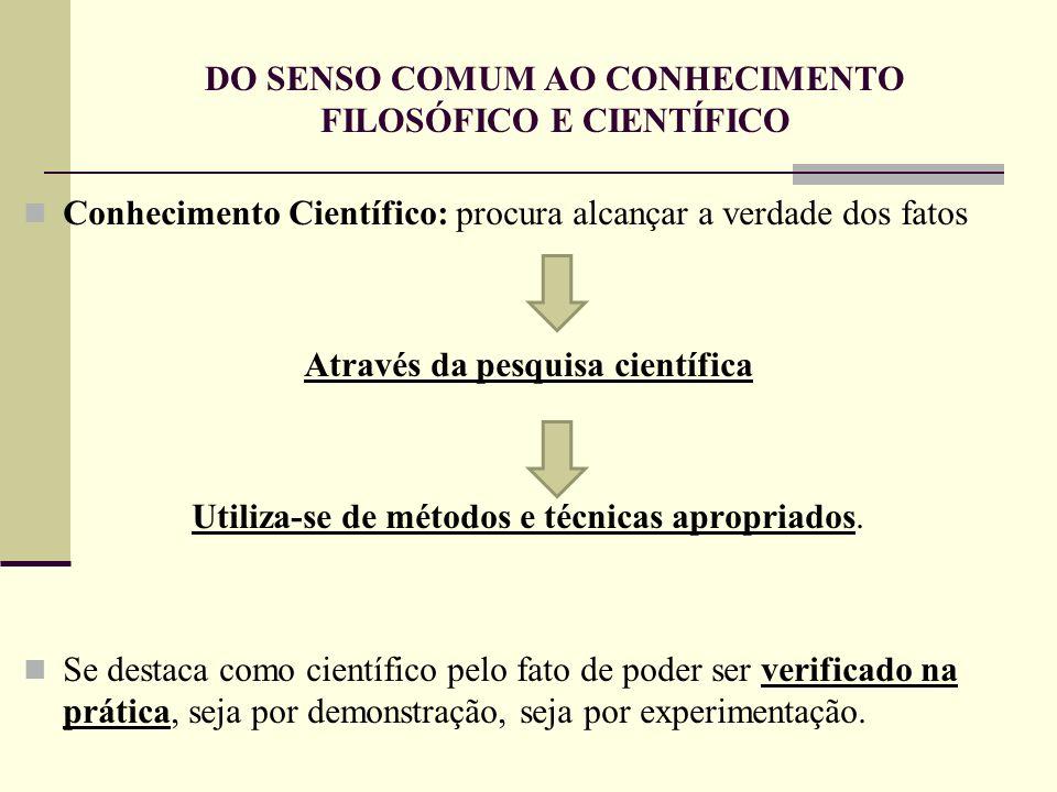 DO SENSO COMUM AO CONHECIMENTO FILOSÓFICO E CIENTÍFICO Conhecimento Científico: procura alcançar a verdade dos fatos Através da pesquisa científica Ut