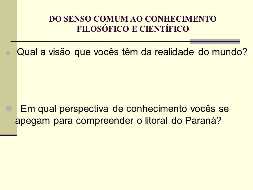 Qual a visão que vocês têm da realidade do mundo? Em qual perspectiva de conhecimento vocês se apegam para compreender o litoral do Paraná?
