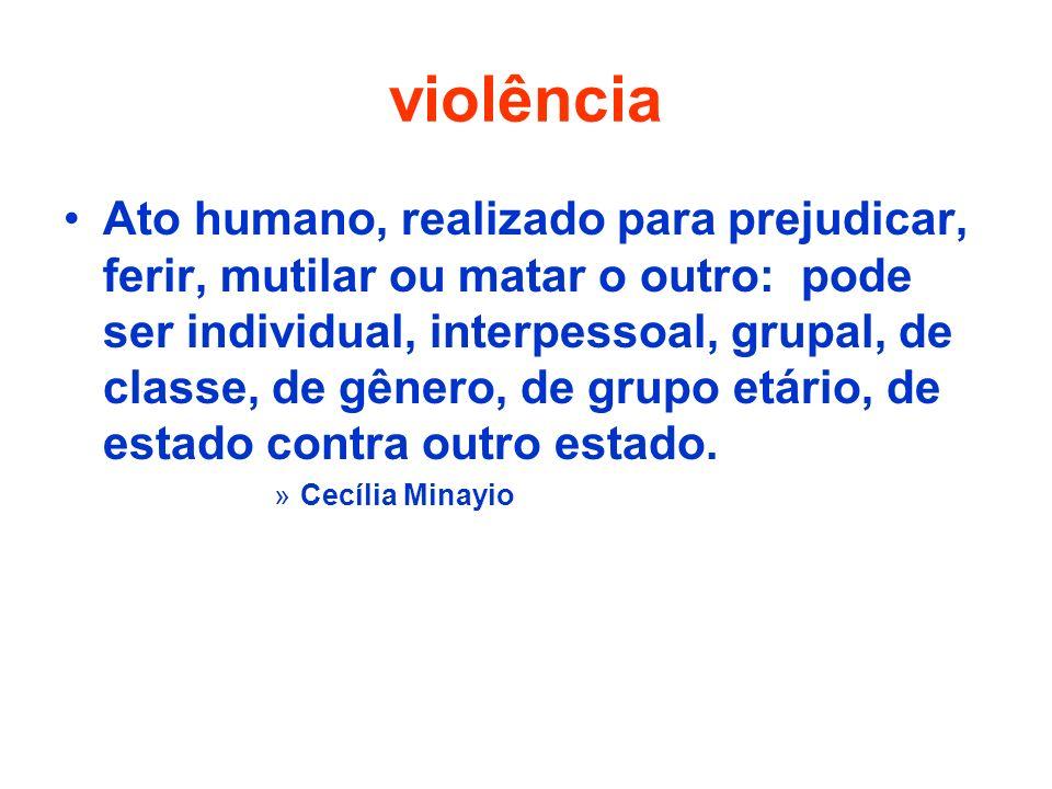 violência Ato humano, realizado para prejudicar, ferir, mutilar ou matar o outro: pode ser individual, interpessoal, grupal, de classe, de gênero, de grupo etário, de estado contra outro estado.