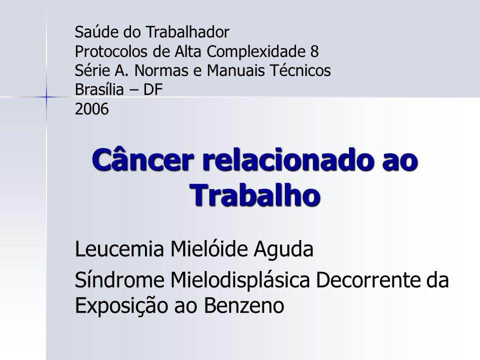 Câncer relacionado ao Trabalho Leucemia Mielóide Aguda Síndrome Mielodisplásica Decorrente da Exposição ao Benzeno Saúde do Trabalhador Protocolos de