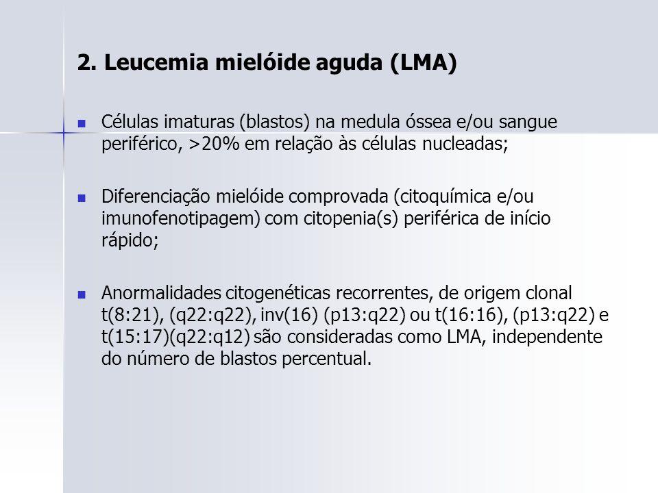 2. Leucemia mielóide aguda (LMA) Células imaturas (blastos) na medula óssea e/ou sangue periférico, >20% em relação às células nucleadas; Diferenciaçã