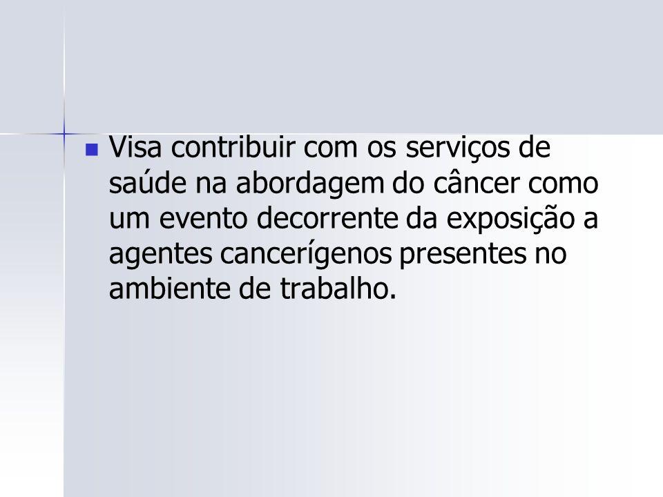 Visa contribuir com os serviços de saúde na abordagem do câncer como um evento decorrente da exposição a agentes cancerígenos presentes no ambiente de