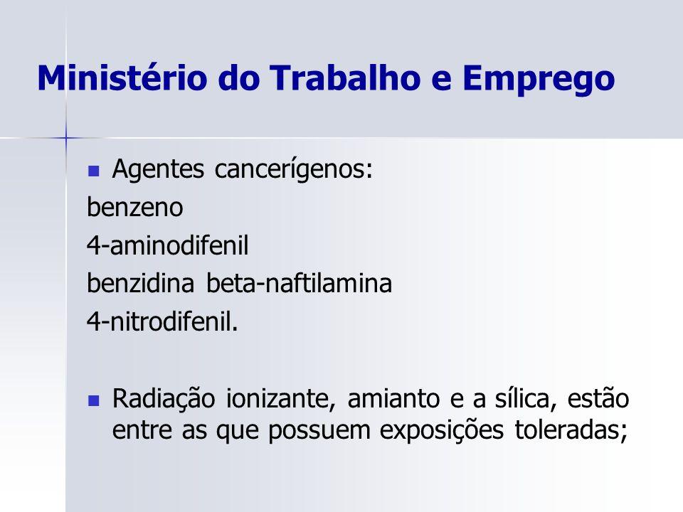 Ministério do Trabalho e Emprego Agentes cancerígenos: benzeno 4-aminodifenil benzidina beta-naftilamina 4-nitrodifenil. Radiação ionizante, amianto e