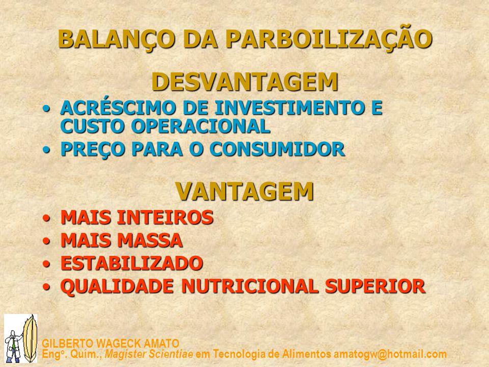 GILBERTO WAGECK AMATO Eng o. Quím., Magister Scientiae em Tecnologia de Alimentos amatogw@hotmail.com BALANÇO DA PARBOILIZAÇÃO DESVANTAGEM ACRÉSCIMO D