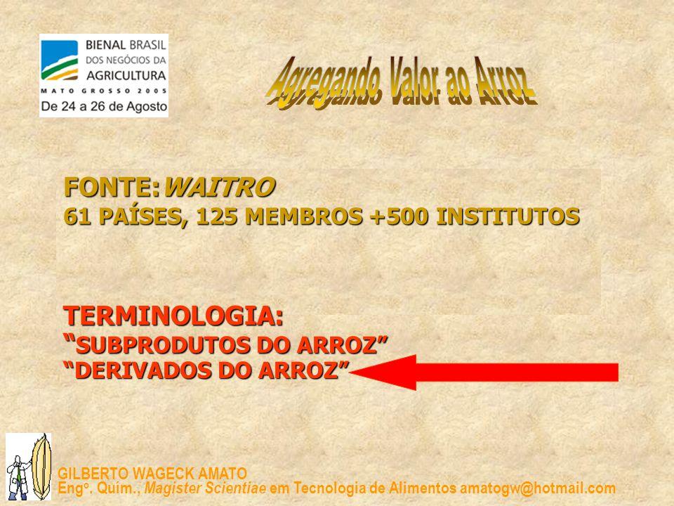 GILBERTO WAGECK AMATO Eng o. Quím., Magister Scientiae em Tecnologia de Alimentos amatogw@hotmail.com FONTE:WAITRO 61 PAÍSES, 125 MEMBROS +500 INSTITU