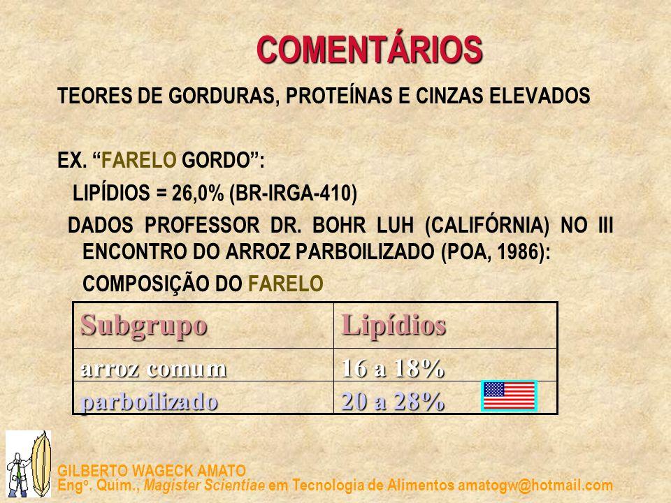 GILBERTO WAGECK AMATO Eng o. Quím., Magister Scientiae em Tecnologia de Alimentos amatogw@hotmail.com COMENTÁRIOS TEORES DE GORDURAS, PROTEÍNAS E CINZ