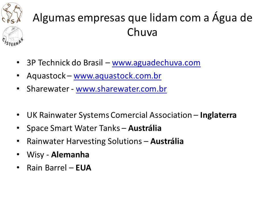 Algumas empresas que lidam com a Água de Chuva 3P Technick do Brasil – www.aguadechuva.comwww.aguadechuva.com Aquastock – www.aquastock.com.brwww.aqua